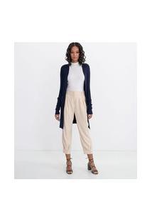 Cardigan Alongado Em Tricô Com Bolsos E Detalhe De Botões No Punho Comfy | Cortelle | Azul | Pp