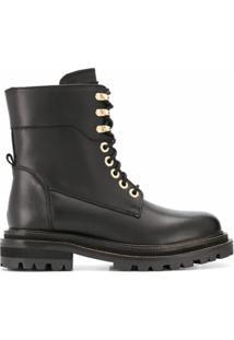 Twinset Ankle Boot Com Cadarço - Preto