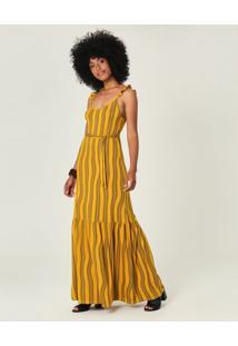 Vestido Longo Estampado Conforto Malwee Amarelo - P