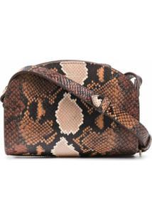 A.P.C. Demi-Lune Snakeskin-Effect Shoulder Bag - Marrom