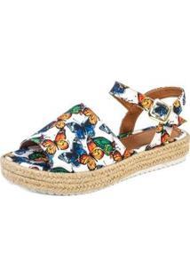 Sandalia Flatform Mercedita Shoes Corda Tropical Feminina - Feminino-Branco+Azul