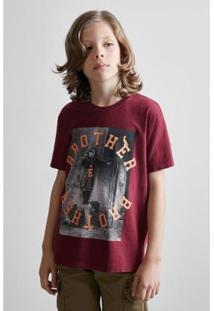 Camiseta Masculina Infantil Mini Sm Brother Reserva Mini - Masculino-Bordô