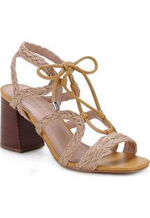 Sandália Shoestock Tiras Trançada Amarração Salto Bloco Alto Feminina - Feminino-Amarelo