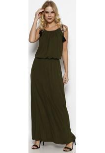 Vestido Longo Com Pregas- Verde Militar- Linho Finolinho Fino