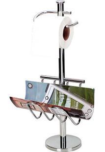 Porta Papel Higiênico Cromado Vertical Com Revisteiro Standard Jackwal