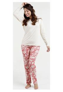 Pijama Feminino Estampa Floral Manga Longa Lupo