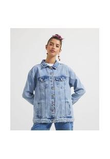 Jaqueta Jeans Liso Com Puídos   Blue Steel   Azul   G