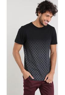 Camiseta Masculina Slim Fit Com Estampa Degradê Manga Curta Gola Careca Preta