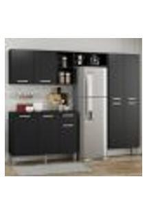 Cozinha Completa Compacta Pequim Up Multimóveis Com Balcão - Preto
