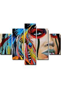 Quadro Painel Mosaico Decorativo 5 Partes India Americana