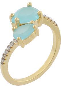 Anel Narcizza Semijoias Gota Dupla Azul Claro Leitoso Com Detalhes Em Micro Zircônia Cristal Ouro