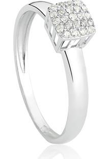 Anel De Ouro Branco 18K Pavê Quadrado Com Diamantes-Coleção Engaged.