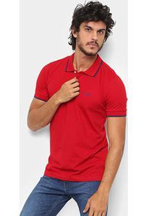 Camisa Polo Wrangler Friso Bordada Masculina - Masculino-Vermelho