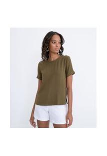Blusa Lisa Com Abertura Nas Costas E Botão | Cortelle | Verde | Gg