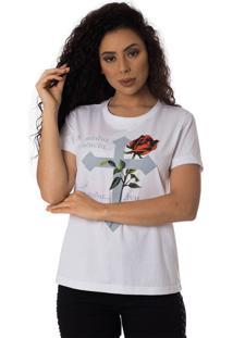 Camiseta Minha Essencia Thiago Brado Slim 6027000008 Branco - Branco - Feminino - Dafiti