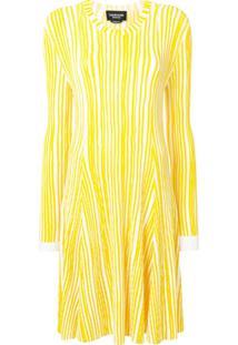 Calvin Klein 205W39Nyc Vestido Listrado De Tricô - Amarelo