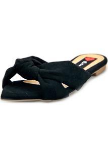Sandália Rasteira Love Shoes Mule Bico Folha Nó Preto