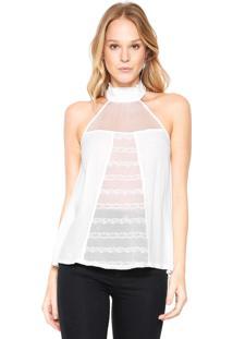 Blusa Colcci Transparencia Branca