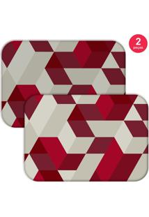 Jogo Americano Love Decor Wevans Red Geometric Bege/Bordo