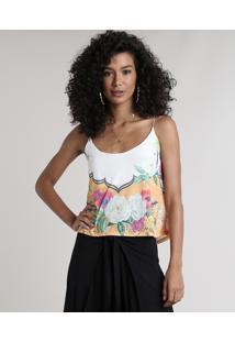 Regata Feminina Estampada Floral Alças Finas Decote Redondo Off White