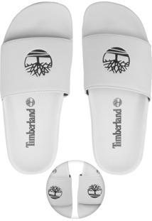 Chinelo Slide Timberland Logo Branco
