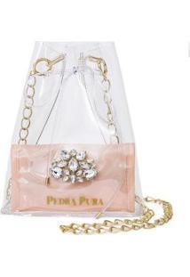 Bolsa Pedra Pura Cristal Transparente Feminina - Feminino-Rosê