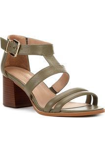 Sandália Couro Shoestock Salto Médio Tiras Feminina - Feminino-Verde