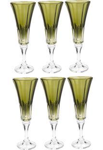 Jogo De Taças Para Champagne 6 Peças 180Ml Wellington - Bohemia - Verde
