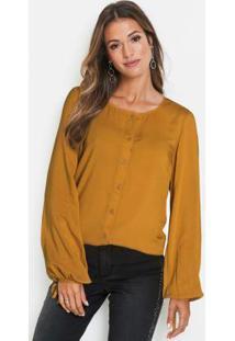 Blusa Com Amarração Amarelo Mostarda