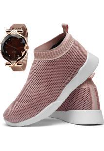 Tênis Caminhada Sapatofran Light Sock Com Relógio - Kanui