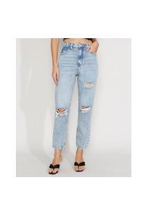 Calça Jeans Feminina Reta Cintura Super Alta Destroyed Marmorizada Azul Claro