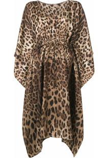 Dolce & Gabbana Vestido Assimétrico Animal Print - Marrom