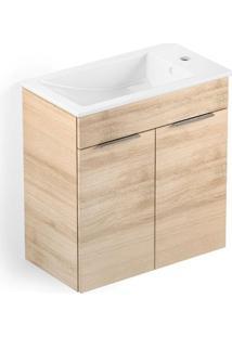 Gabinete Integrado Em Mdf Para Banheiro Com Lavatório Cube 60X34Cm Com 2 Portas Carvalho