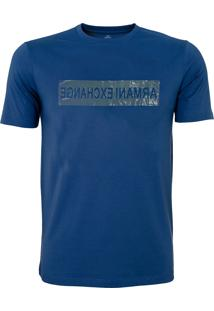 Camiseta Armani Exchange Masculina Slim Reversed Logo Crew Blue