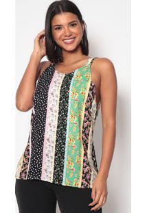 Blusa Floral Com Amarraã§Ã£O- Verde & Preta- Miss Bellmiss Bella