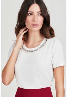 Blusa Bordado Rubinella Decote Feminina - Feminino-Off White