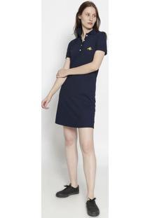 Vestido Com Bordado- Azul Marinho & Amareloclub Polo Collection
