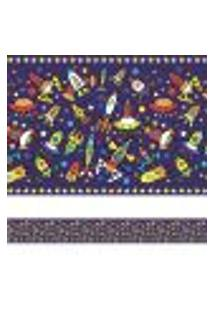Adesivo De Parede Faixa Decorativa Espaço Sideral 12Mx15Cm