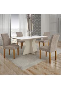 Conjunto Sala De Jantar Mesa Tampo De Vidro Branco Creta 4 Cadeiras Olímpia Leifer Off White/Imbuia/Pena Caramelo