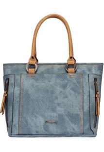 Bolsa Satchel Com Detalhes Em Costuras Mormaii - Feminino-Azul