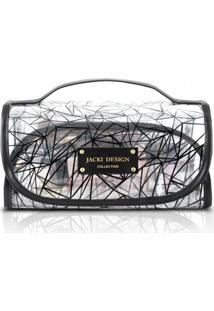 Necessaire Rocambole Transparente Jacki Design Crystal Preto