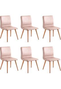 Conjunto Com 6 Cadeiras De Jantar Ana Marrom Claro E Castanho