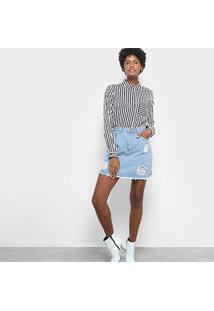 Camisa Drezzup Manga Longa Listrada Feminina - Feminino-Branco+Azul
