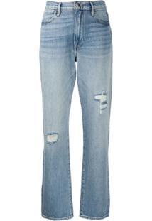Frame Calça Jeans Reta Destroyed - Azul