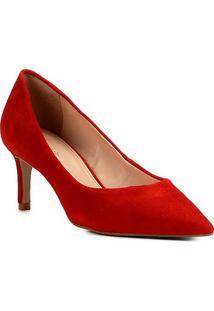 Scarpin Shoestock Salto Médio Camurça - Feminino