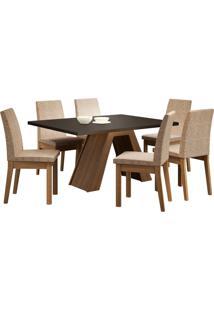 Sala De Jantar Madesa Yasmin Mesa Tampo De Madeira Com 6 Cadeiras