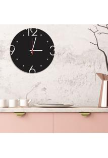 Relógio De Parede Decorativo Premium Preto Ônix Com Números Vazados Médio