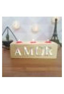 Cubo Decorativo Com Velas E Letras Em Acrílico Amor Único