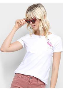 Camiseta Top Moda Flamingo Bordada Feminina - Feminino-Branco