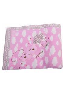 Cobertor Rolo Bordado 0.90X1,10M Alvinha Ref.5947 / 5946 / 5948 - Minasrey-Rosa